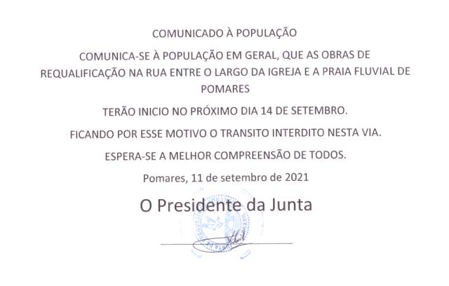 Read more about the article Requalificação da estrada em Pomares, Pontão – Praia Fluvial